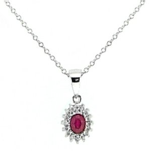 0.12ct. Diamond 0.30ct. Ruby 18K Solid Gold Halo Necklace
