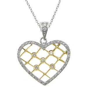0.38ct. Diamond 18K Solid Gold Heart Necklace