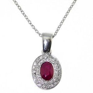 0.16ct. Diamond 0.65ct. Ruby 18K Solid Gold Modern Design Necklace