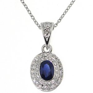 0.2ct. Diamond 0.66ct. Sapphire 18K Solid Gold Modern Design Necklace