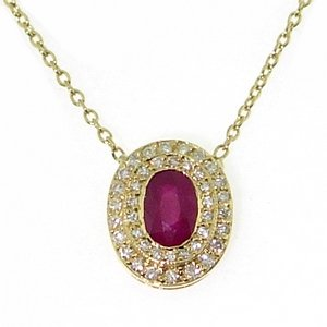 0.25ct. Diamond 0.68ct. Ruby 18K Solid Gold Halo Necklace