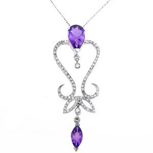 0.56ct. Diamond 18K Solid Gold Modern Design Amethyst Necklace