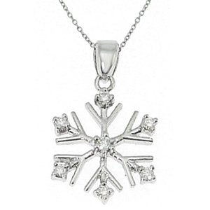 0.14ct. Diamond 18K Solid Gold Modern Design Snow Flake Necklace