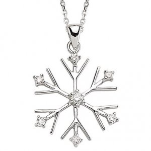 0.17ct. Diamond 18K Solid Gold Modern Design Snow Flake Necklace