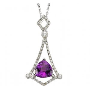 0.2ct. Diamond 18K Solid Gold Amethyst Necklace