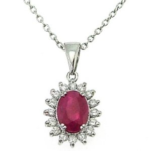 0.16ct. Diamond 0.70ct. Ruby 18K Solid Gold Halo Necklace
