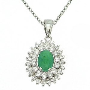 0.35ct. Diamond 0.40ct. Emerald 18K Solid Gold Halo Necklace