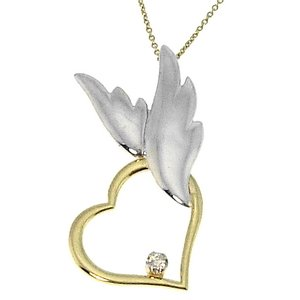 0.02ct. Diamond 14K Solid Gold Heart Angel Necklace