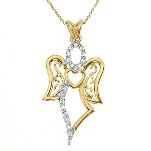 0.12ct. Diamond 18K Solid Gold Angel Necklace