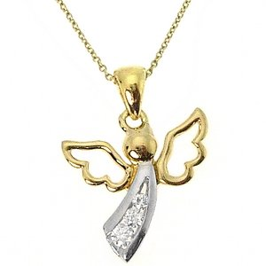 0.09ct. Diamond 14K Solid Gold Angel Necklace