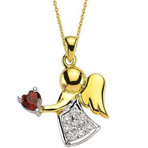 0.1ct. Diamond 18K Solid Gold Angel Garnet Necklace