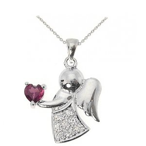 0.1ct. Diamond 18K Solid Gold Angel Necklace