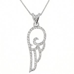 0.21ct. Diamond 18K Solid Gold Angel Necklace