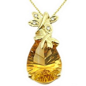 0.02ct. Diamond 14K Solid Gold Butterfly Citrine Necklace