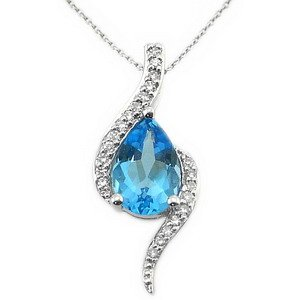 0.08ct. Diamond 14K Solid Gold Blue Topaz Necklace