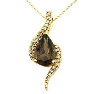 0.08ct. Diamond 14K Solid Gold Smoky Quartz Necklace