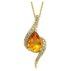 0.08ct. Diamond 14K Solid Gold Citrine Necklace
