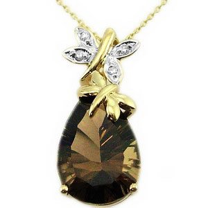 0.02ct. Diamond 14K Solid Gold Butterfly Smoky Quartz Necklace
