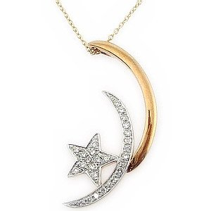 0.11ct. Diamond 18K Solid Gold Moon & Star Necklace