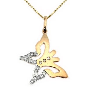 0.08ct. Diamond 18K Solid Gold Butterfly Necklace