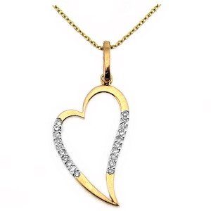 0.08ct. Diamond 18K Solid Gold Heart Necklace