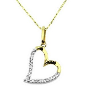 0.07ct. Diamond 14K Solid Gold Heart Necklace