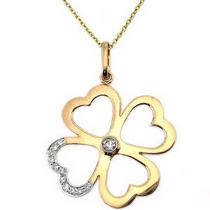 0.07ct. Diamond 18K Solid Gold Heart Necklace