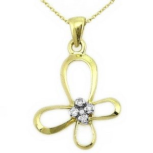 0.03ct. Diamond 14K Solid Gold Butterfly Necklace