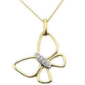 0.02ct. Diamond 14K Solid Gold Butterfly Necklace