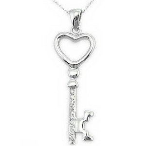 0.04ct. Diamond 14K Solid Gold Key Necklace