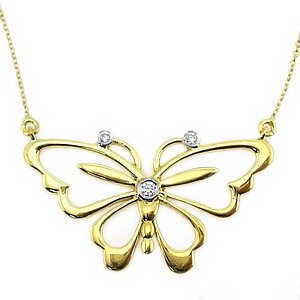 0.04ct. Diamond 14K Solid Gold Butterfly Necklace
