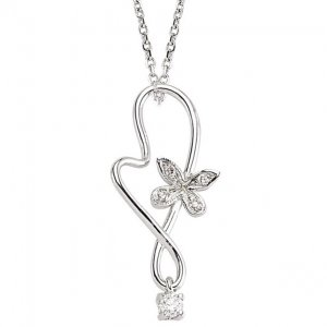 0.08ct. Diamond 14K Solid Gold Butterfly Necklace