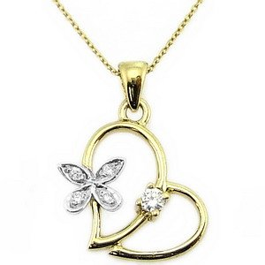 0.07ct. Diamond 14K Solid Gold Heart Butterfly Necklace