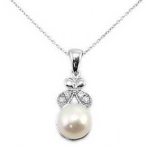 0.04ct. Diamond 18K Solid Gold Pearl Necklace