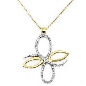 0.14ct. Diamond 18K Solid Gold Modern Design Butterfly Necklace