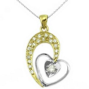 0.22ct. Diamond 18K Solid Gold Heart Necklace