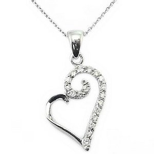 0.1ct. Diamond 14K Solid Gold Heart Necklace