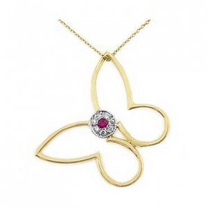 0.04ct. Diamond Ruby 18K Solid Gold Butterfly Necklace