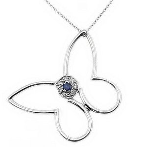 0.04ct. Diamond 0.06ct. Sapphire 18K Solid Gold Butterfly Necklace