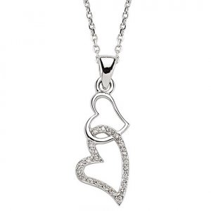 0.05ct. Diamond 18K Solid Gold Heart Necklace