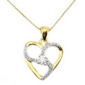 0.14ct. Diamond 18K Solid Gold Heart Necklace