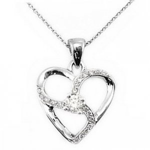 0.13ct. Diamond 18K Solid Gold Heart Necklace