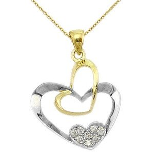 0.08ct. Diamond 14K Solid Gold Heart Necklace