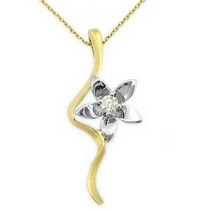 0.06ct. Diamond 14K Solid Gold Flower Necklace