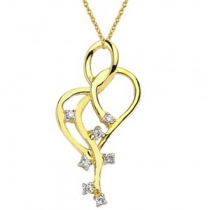 0.05ct. Diamond 14K Solid Gold Heart Necklace