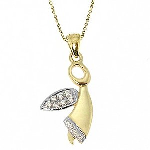 0.08ct. Diamond 14K Solid Gold Angel Necklace