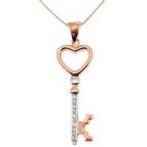 0.04ct. Diamond 18K Solid Gold Heart Key Necklace