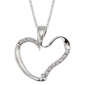 0.09ct. Diamond 14K Solid Gold Heart Necklace