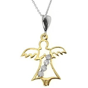 0.04ct. Diamond 14K Solid Gold Angel Necklace