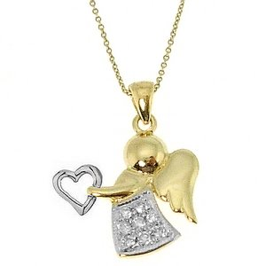 0.12ct. Diamond 14K Solid Gold Angel Necklace